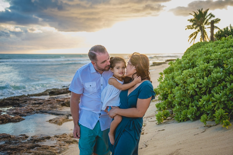 Oahu Family Photographer, family standing together on the beach at sunset
